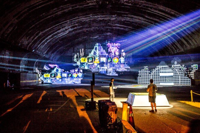 red bull murals hero's journey setting up projections