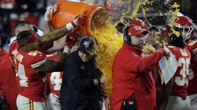 The Kansas City Chiefs with coach Andy Reid (right) want to celebrate again this year.