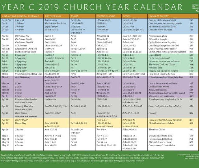 Church Year Calendar 2019 Year C