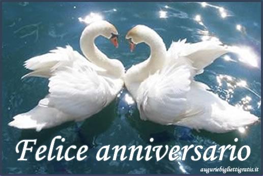 Auguri per anniversario di matrimonio con cigni
