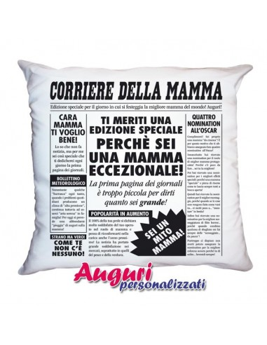 Cuscino giornale per la mamma  Auguri personalizzati