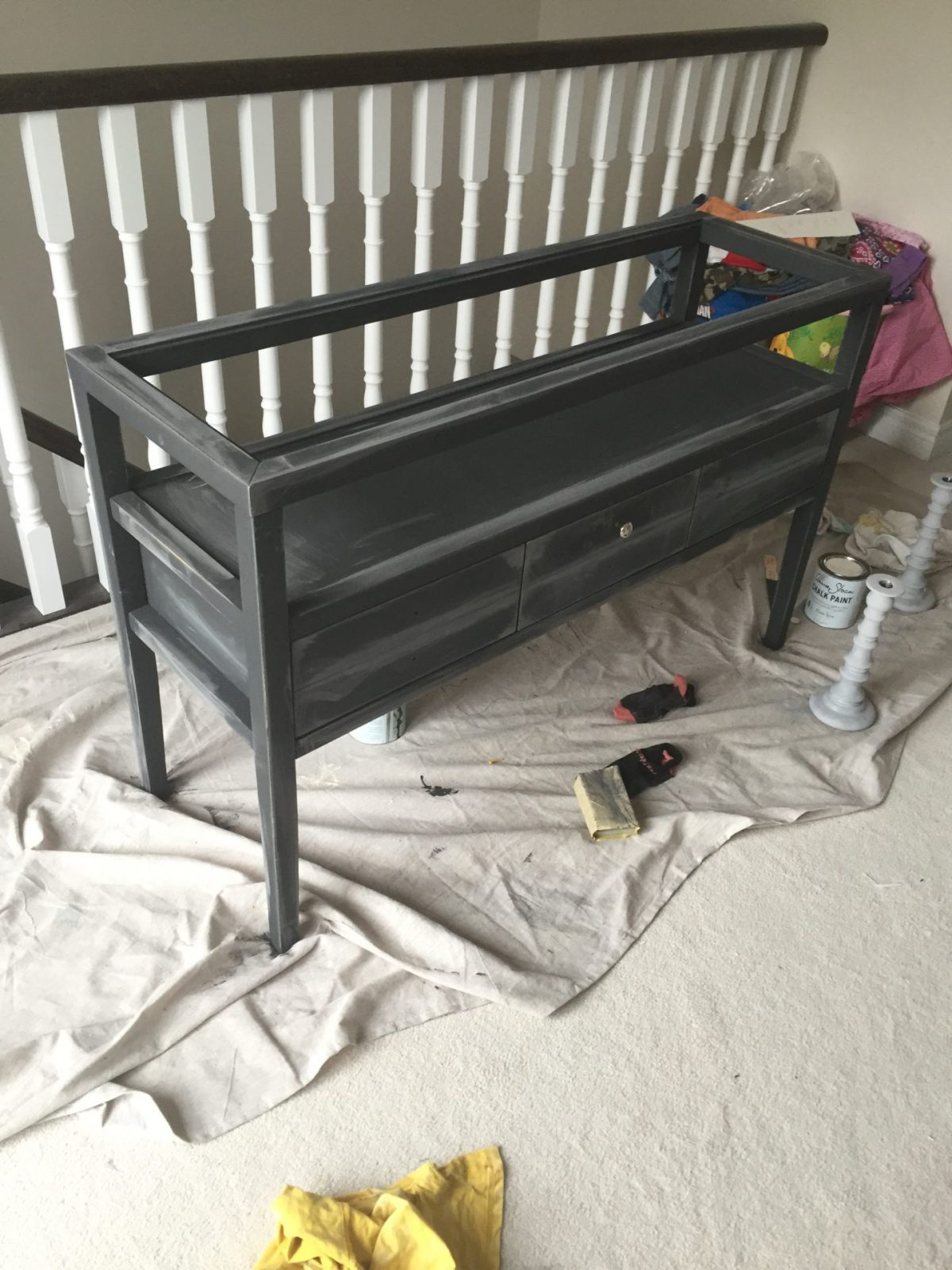Console Table preparing for chalk paint