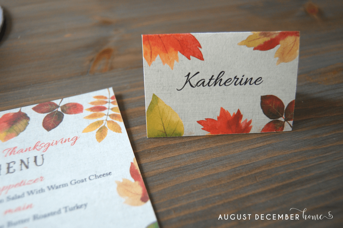 Free Printable Thanksgiving Table Menus and Name Cards