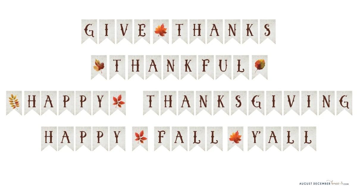 thanksgiving banner printable