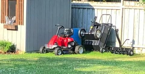residential lawn equipment Riding lawn mower, dump wagon, aerator
