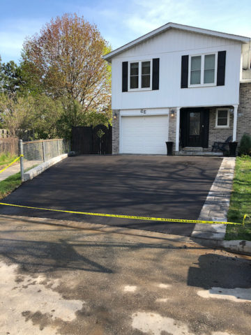 Freshly resurfaced driveway