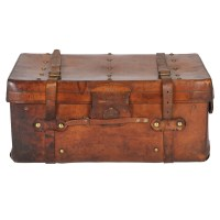 Sm Antique Leather Steamer Trunk - August Haven Furniture ...