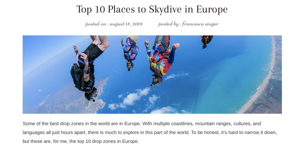 Best Places to Skydive in Europe