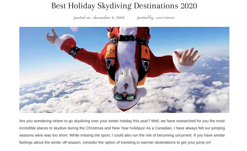 Best places to skydiving during the holidays