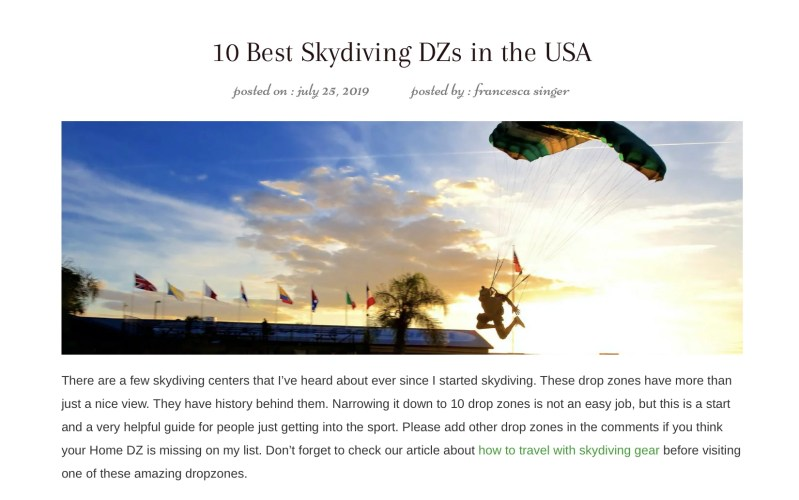 Best skydiving centers in the USA