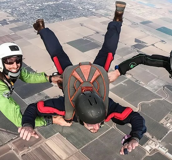 Skydiving Instructors and student during a skydiving course
