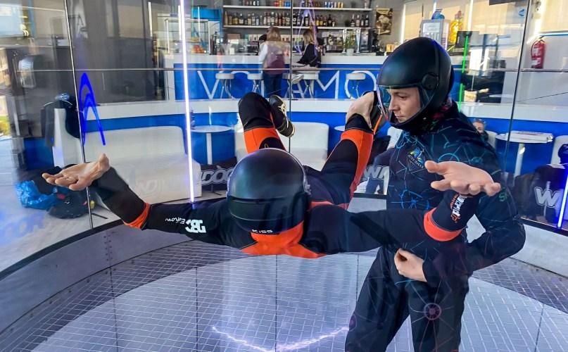 two people flying, wind tunnel, indoor skydiving, windoor logo, German skydiving team