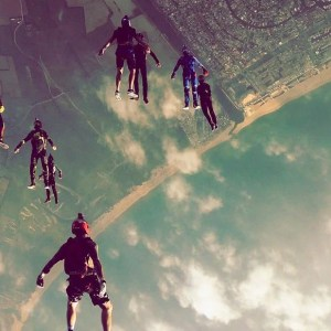 group of skydiver doing an angle tracking jump in Empuriabrava