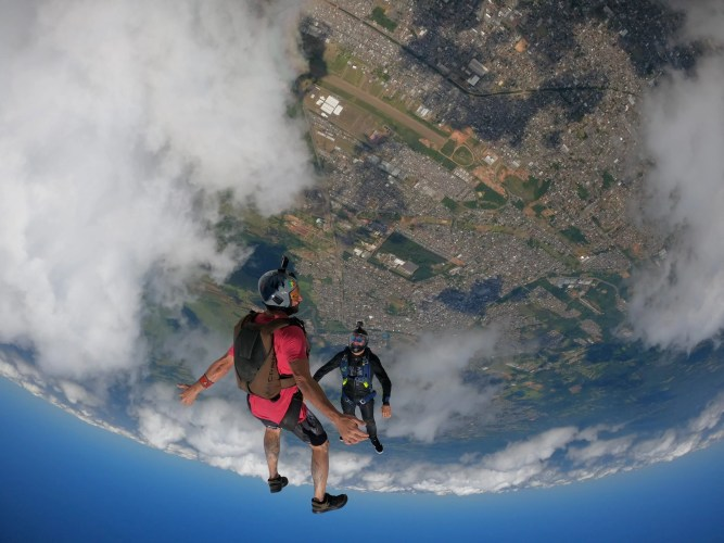 Novo Hamburgo from above during a skydiving