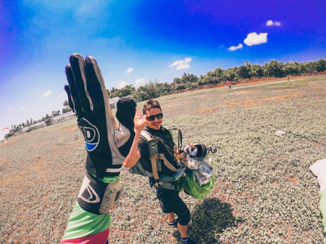 High Five after a skydiving jump in The Maldives
