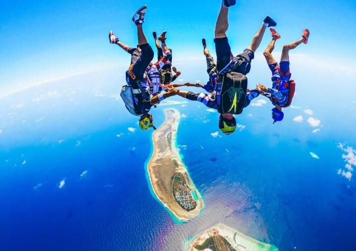 Skydiving Head Down Formation over the Kooddoo Island