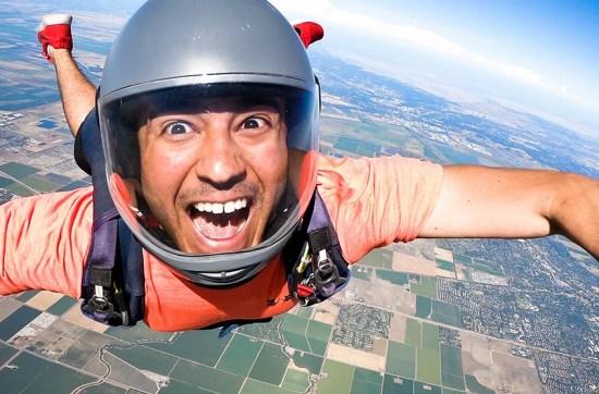 skydiver having fun in free fall