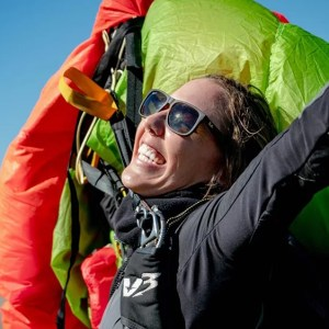 happiness of a skydiver after a jump