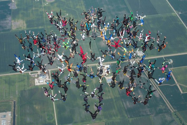 Vertical formation craziest skydive record
