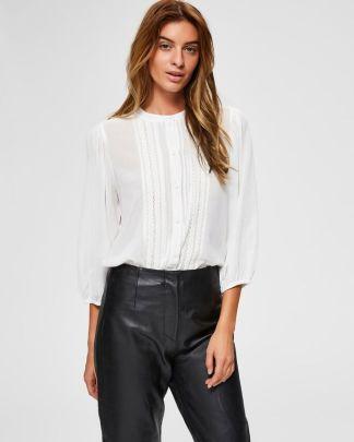 selected femme lace trim shirt