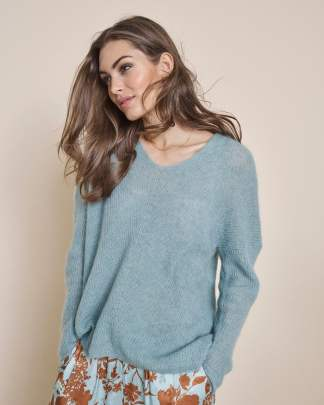 Mos Mosh Thora V-neck Knit Mint