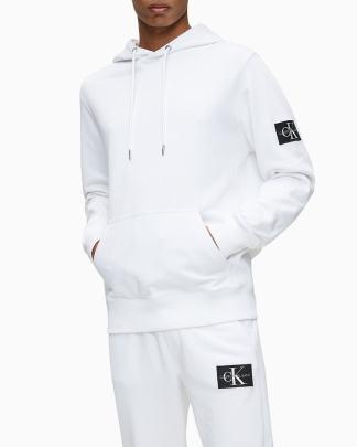 Calvin Klein Monogram Sleeve Badge Hoodie White