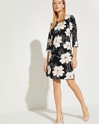 Comma Flower Dress Dark Blue