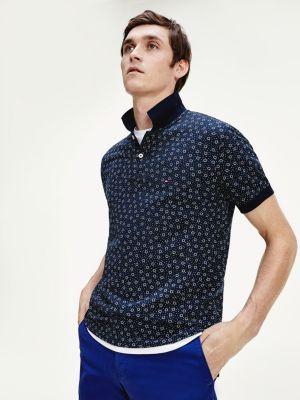 Tommy Hilfiger Buyo Print Polo Shirt Blue