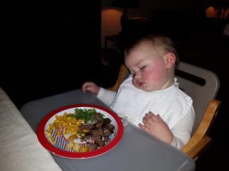 slapend eten