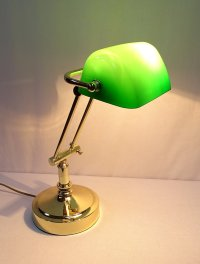G4058: Noble Old British Bankers Lamp, Banker's Brass ...