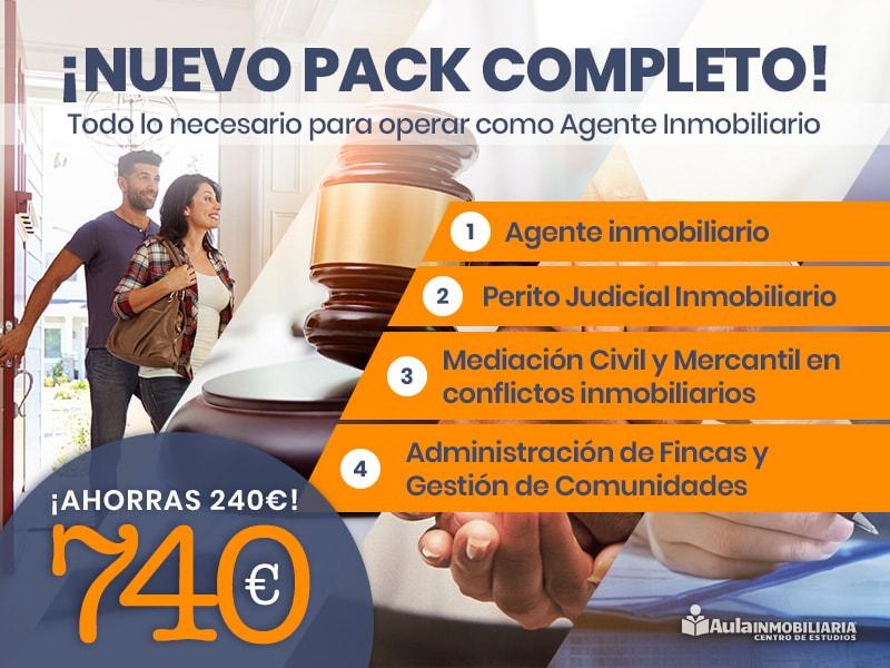 Pack completo: Agente inmobiliario, Perito Judicial Inmobiliario, Administrador de Fincas, Mediación Civil y Mercantil