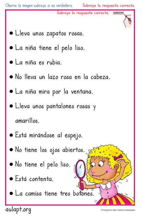 10 Fichas De Comprension Lectora De Frases Verdadero O Falso Letra Imprenta Aula Pt
