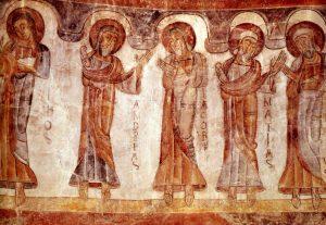 Les douze apôtres, fresque de l'église de montcherand, Suisse, XII°s.
