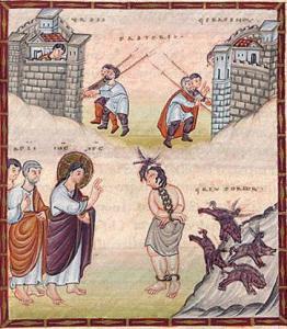 Démoniaque de Gérasa, codex Egberti, 980