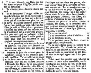 Dix commandements, Dt 5, Bible Crampon, 1904.