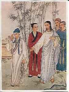 Représentation chinoise de Jesus et le jeune homme riche, Beijing, 1879.