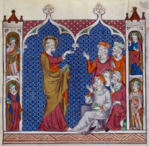 Psautier de la Reine Marie, 1320, British Library, fol. 214, Christ enseignant