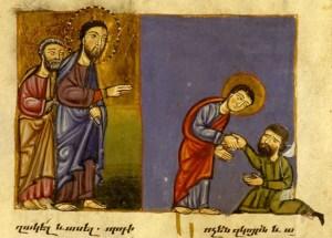 L'aveugle de bethsaide, Mss Armenien, Monastère de Glajor, v. 1301-1325