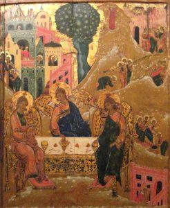 Icône d'Abraham et la Sainte Trinité, Ecole de Nizhniy Novgorod, 17°s.