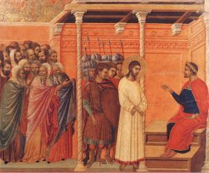 Duccio di Buoninsegna, Christ devant Pilate, 1311