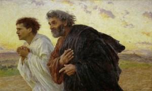 Eugène Burnand, Les Disciples Pierre et Jean courant au sépulcre le matin de la Résurrection, 1898