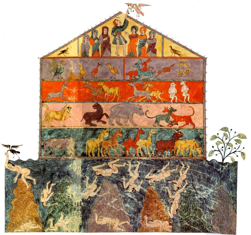 Girona Beatus, folio 52v-53r  Noah's_ark, 975