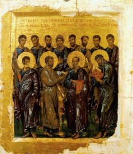Synaxis of the Twelve Apostles, Constantinople master, early 14th, Pushkin museum.