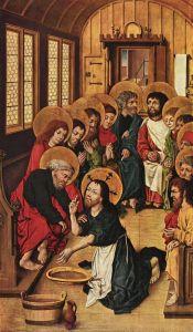 Meister des Hausbuches, lavement des pieds, 1480