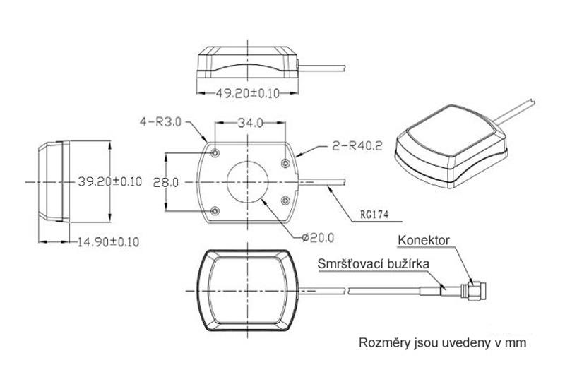 AGP-103 GPS vnitřní anténa FAKRA 90°konektor