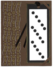 Bookmark greeting card with metallic pen decorations and punched bookmark
