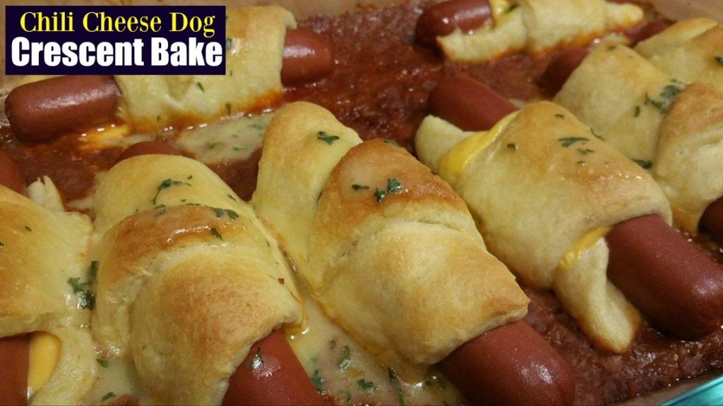 Chili Cheese Dog Crescent Bake   Aunt Bee's Recipes