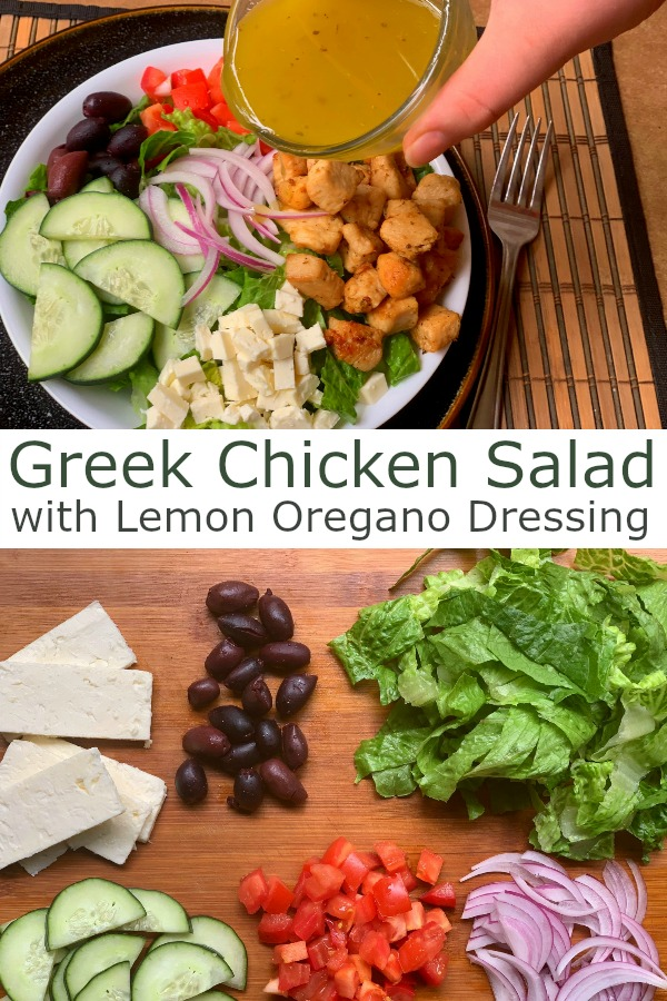 Greek Chicken Salad with Lemon Oregano Dressing Pin