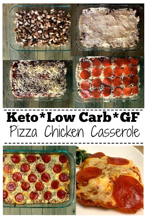 Keto Pizza Chicken Casserole Pinterest Collage