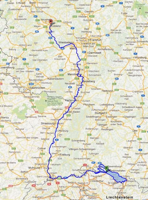Konstanz to Koblenz map